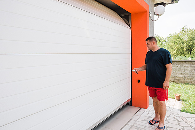 orange siding garage door